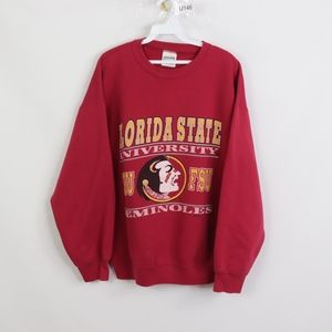 90s Mens XL Florida State Seminoles Sweatshirt Red